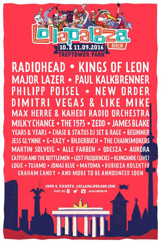 Lollapalooza Berlin 2016 lineup first